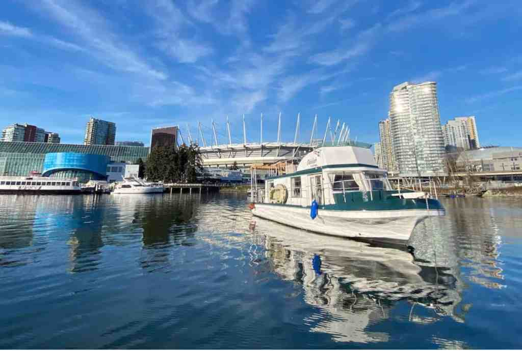 floating airbnb boat in false creek in vancouver