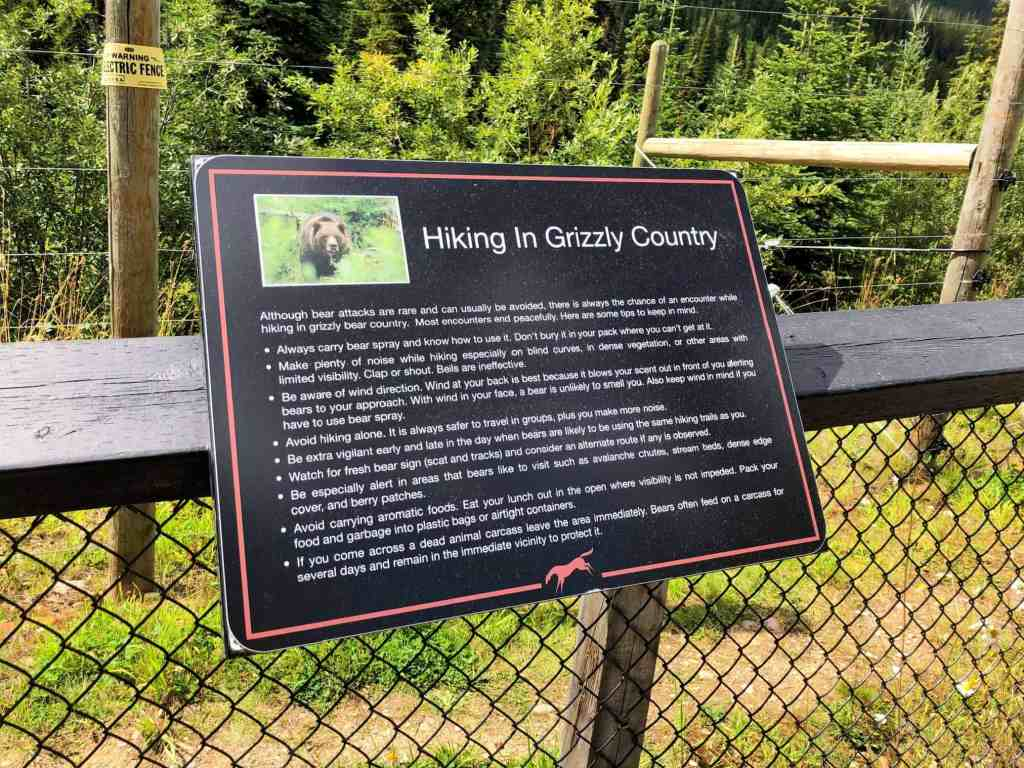 grizzly country hiking sign tips