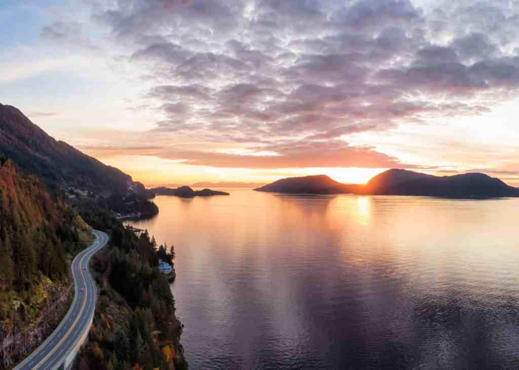 sea to sky highway in bc at dusk