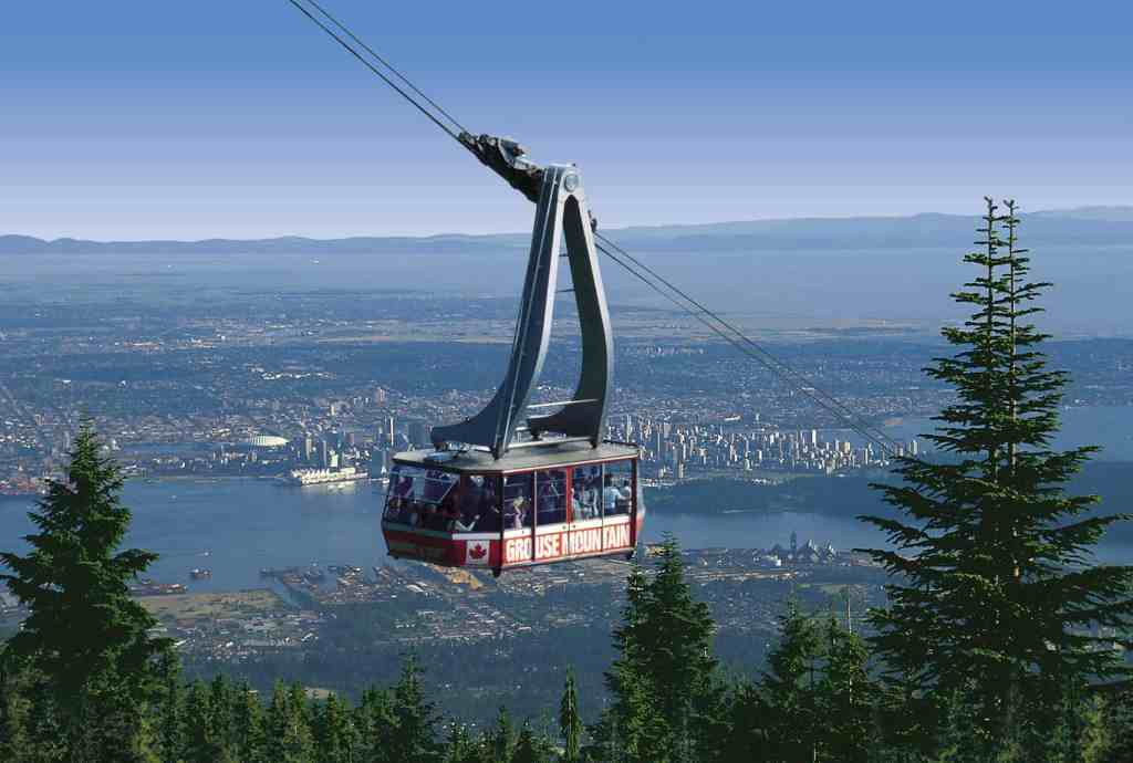 grouse mountain sky ride gondola in sunshine