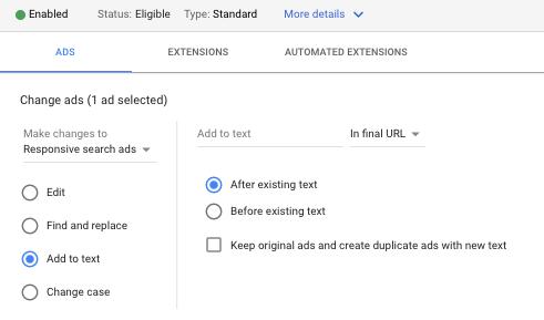 edit google ads text