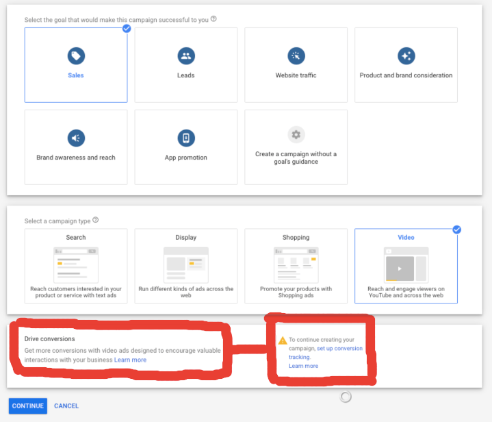 Youtube Ads need a track of goals and conversions