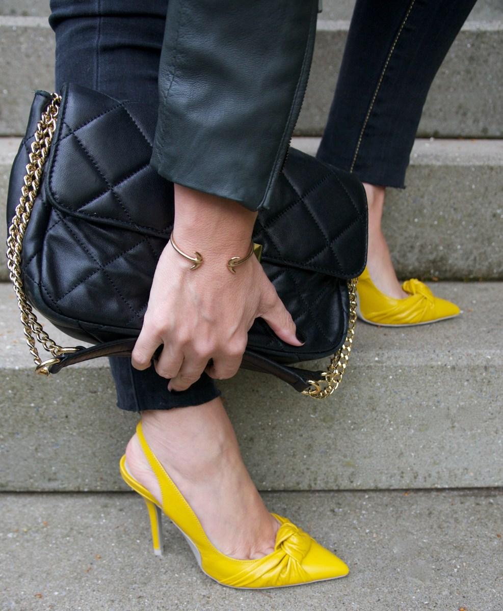 Wearing yellow #1: Moto jacket and stilettos