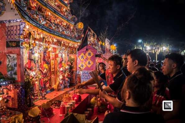 Ghost Month foating lantern celebration in Keelung Taiwan