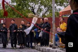 Taiwan Taipei funeral burning ritual and paper gifts for the dead