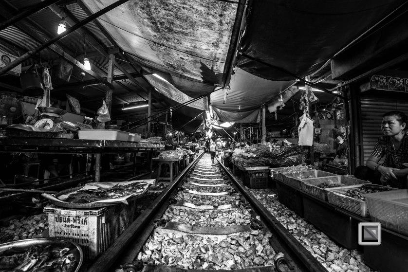 Maeklong Train Market Black and White-17