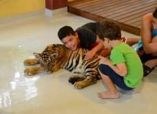 Crianças com um filhote