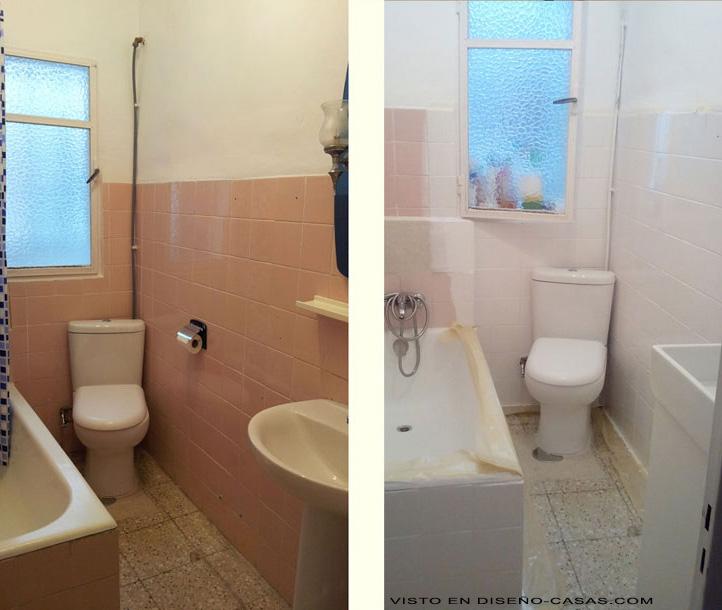 Pintar azulejos ba os imagen 1 claves deco - Pintar bano con hongos ...