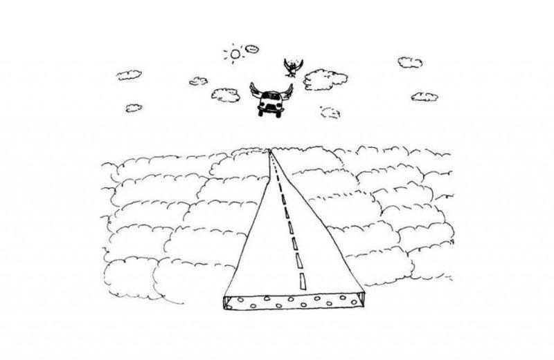 Ilustración de Stéphane Hébert incluida en el libro 'Los autonautas de la cosmopista'.