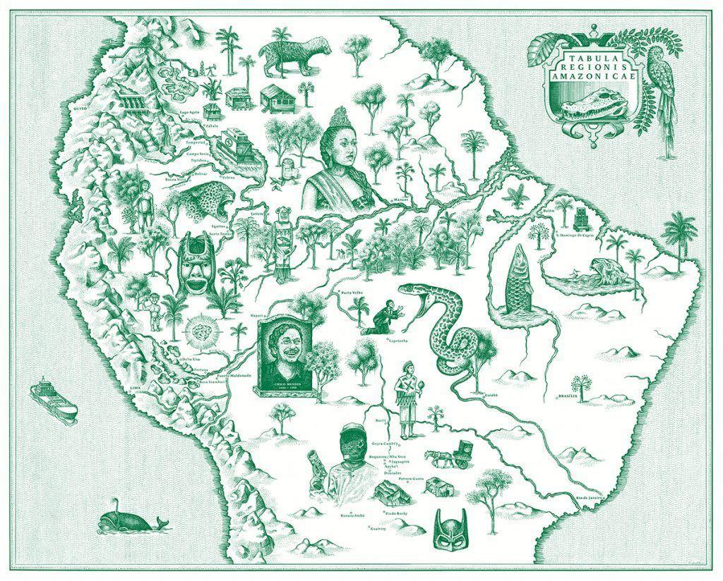 Mapa que se incluye en 'El libro de la selva' de Yann Gross. Cortesía de Editorial RM.