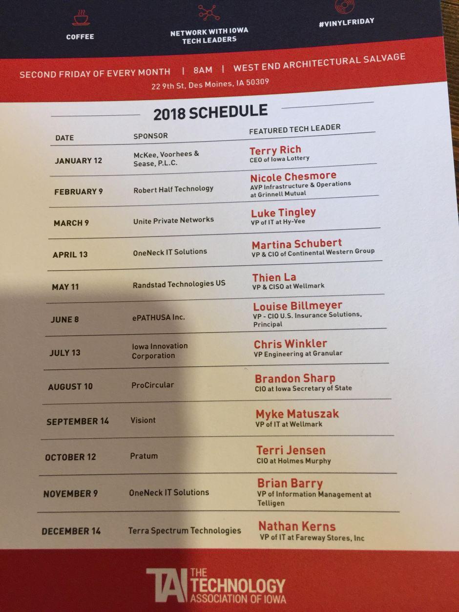 TechBrew Schedule