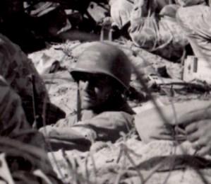 1st Lt. Alexander Bonnyman Jr. in a foxhole during the battle of Tarawa, 1943.