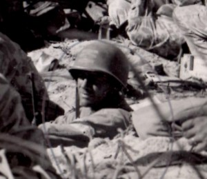 1st Lt. Alexander Bonnyman Jr. in a foxhole during the battle of Tarawa, 1943.