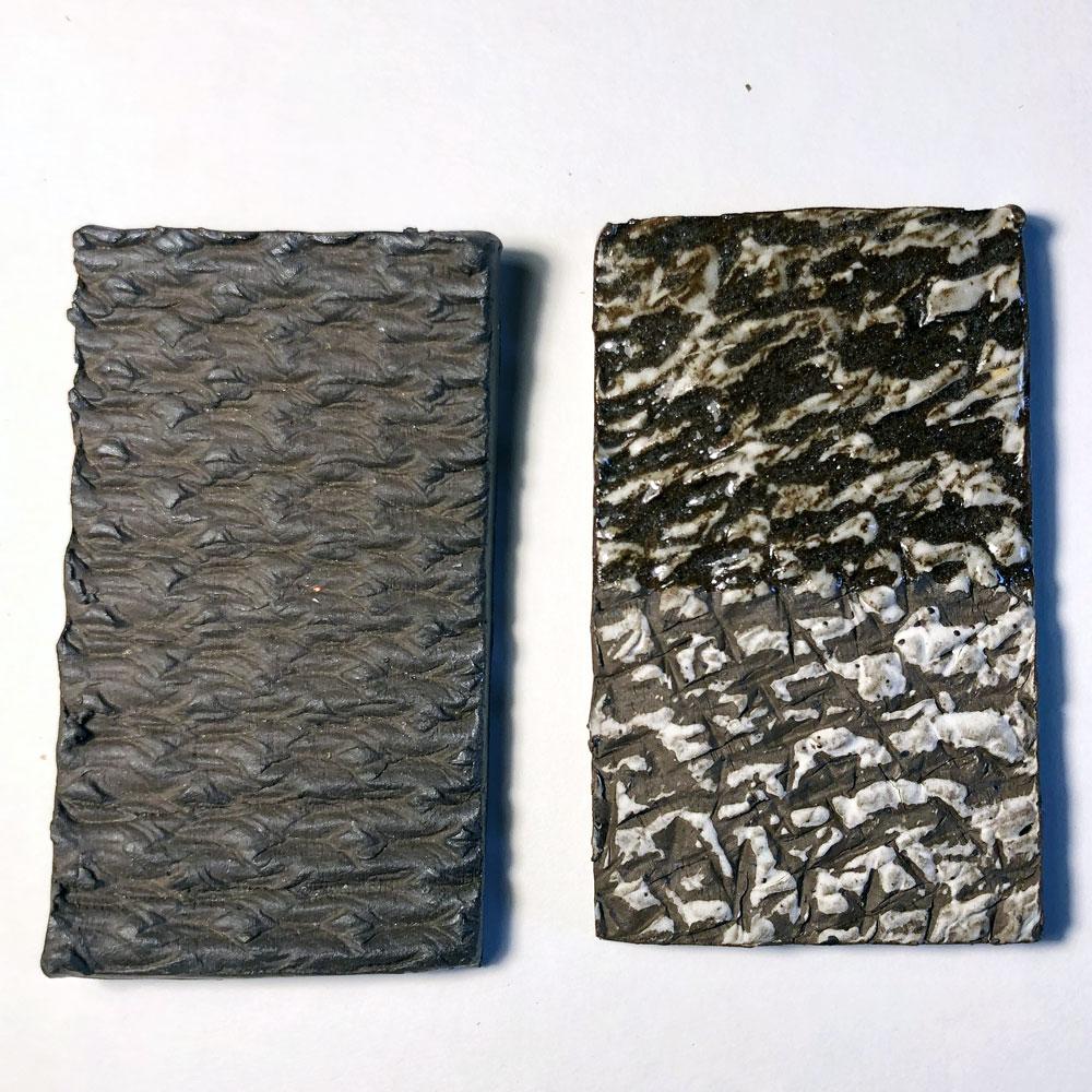 Texture roller stamp test tiles