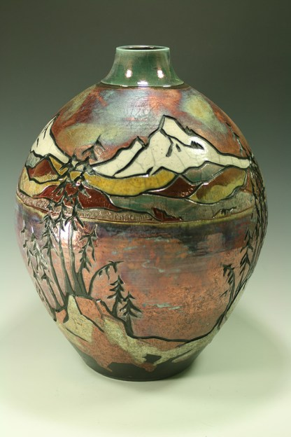 Raku-vase-carved-mountains