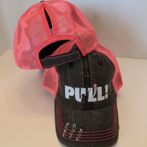 Ponytail Caps - Ladies Trap Shooting Hats - White YELL & BREAK THINGS Design