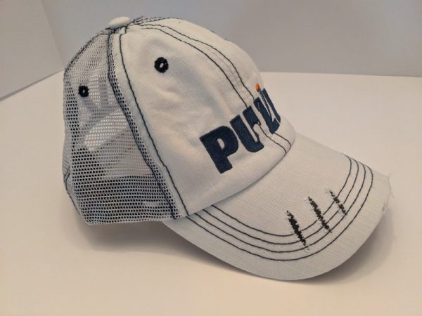 Ponytail Caps - Ladies Trap Shooting Hats - White PULL! Design