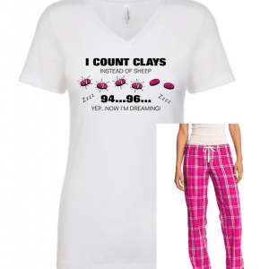 Ladies Clay Shooting Lounge Set - Counting Clays Sleep Shirt & Lounge Pants