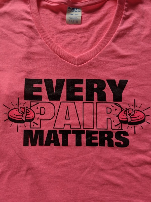 Pink T-Shirts For Breast Cancer Awareness - Ladies V-Neck EVERY PAIR MATTERS Clay Shooting T-Shirt