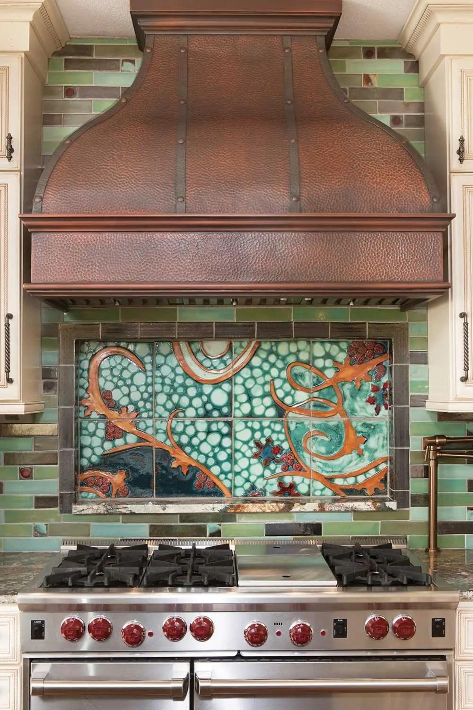 tile mural kitchen backsplash by clay