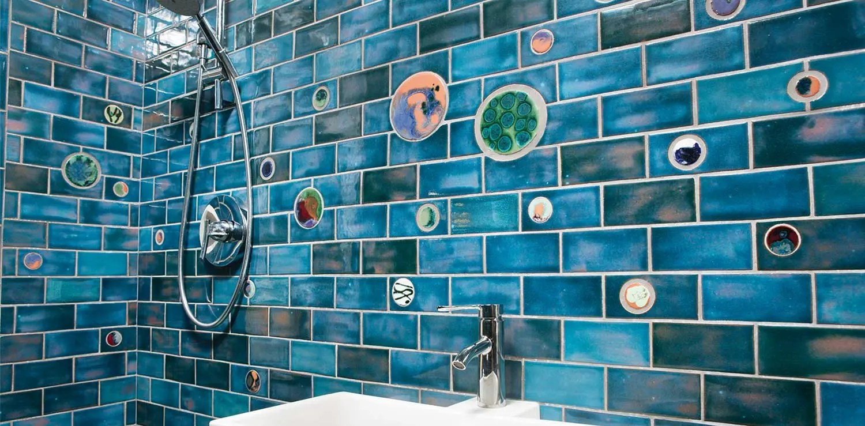 little blue gem tile bathroom classic