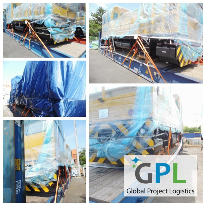 Global Project Logistics (GPL) moving huge motor trolleys from Korea