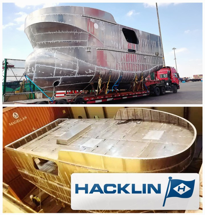 Hacklin shipped a hull of a ship from China to Europe by Container Vessel