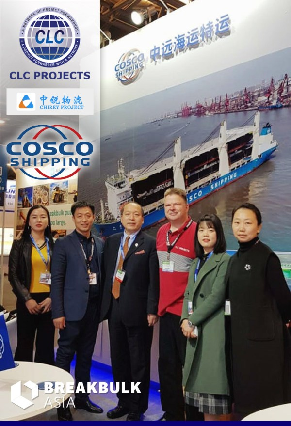 Bo           Drewsen meeting with COSCO Shipping at their Breakbulk Asia           booth