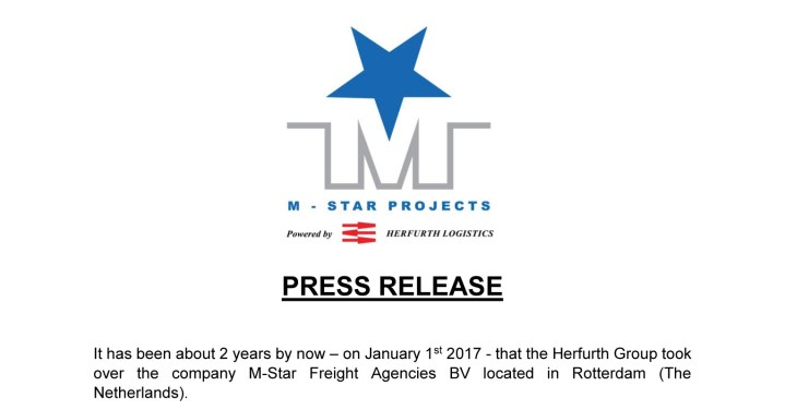 Press Release: M-Star Projects - Powered by Herfurth Logistics