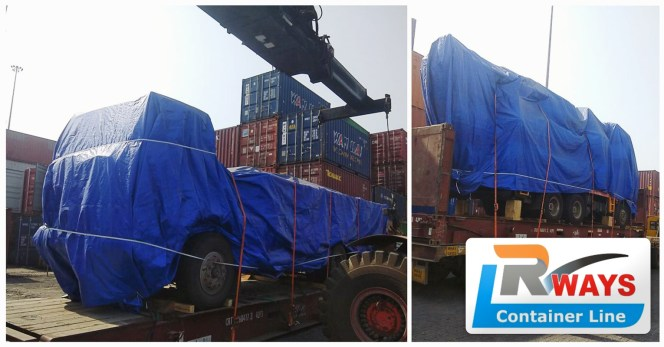 Rways Container Line Loaded A Truck and Crane for  Port Sudan