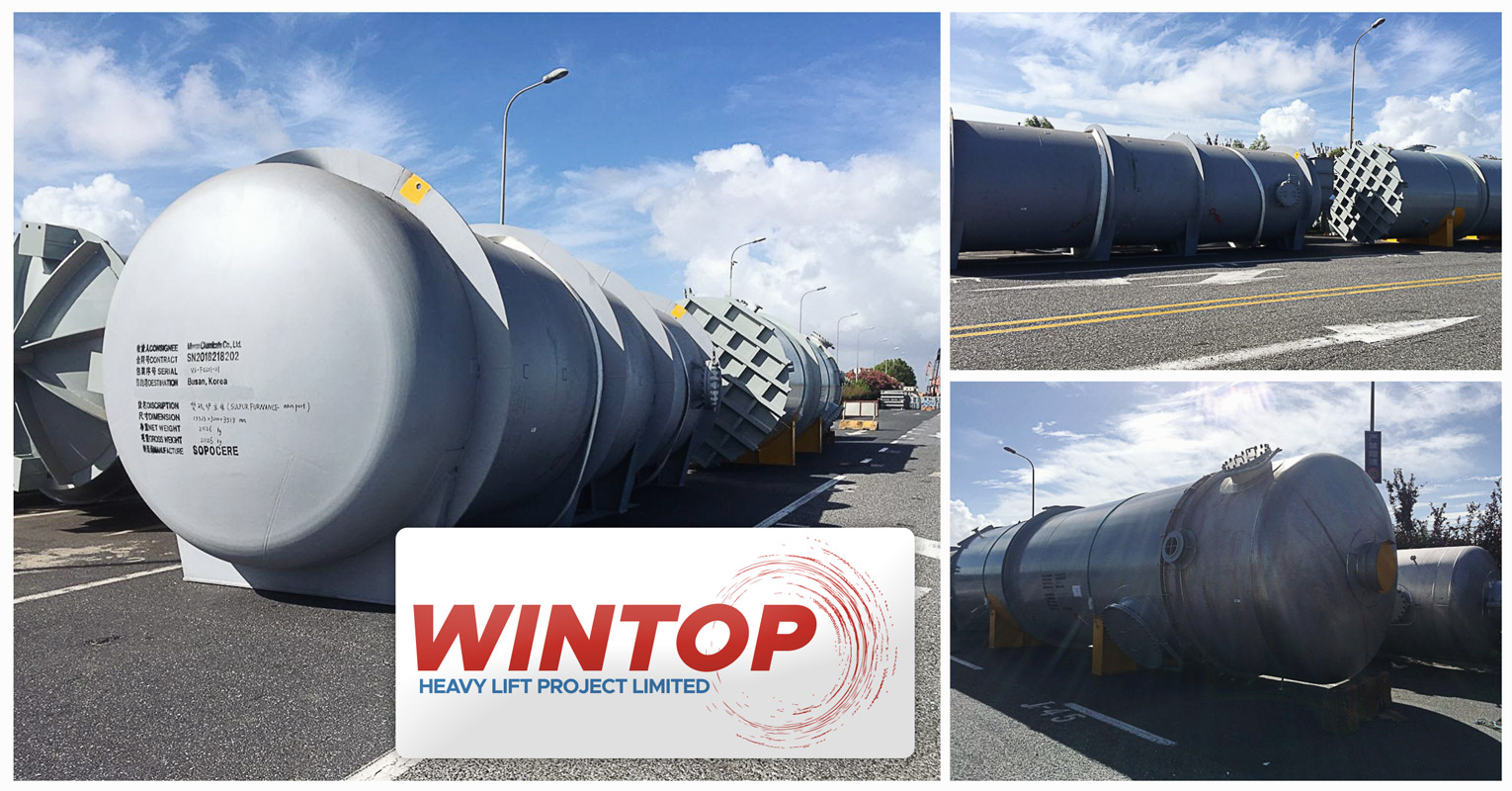 Wintop Heavy Lift Handled Drying Tower & Sulfur Furnace Cargo from Shanghai to Busan