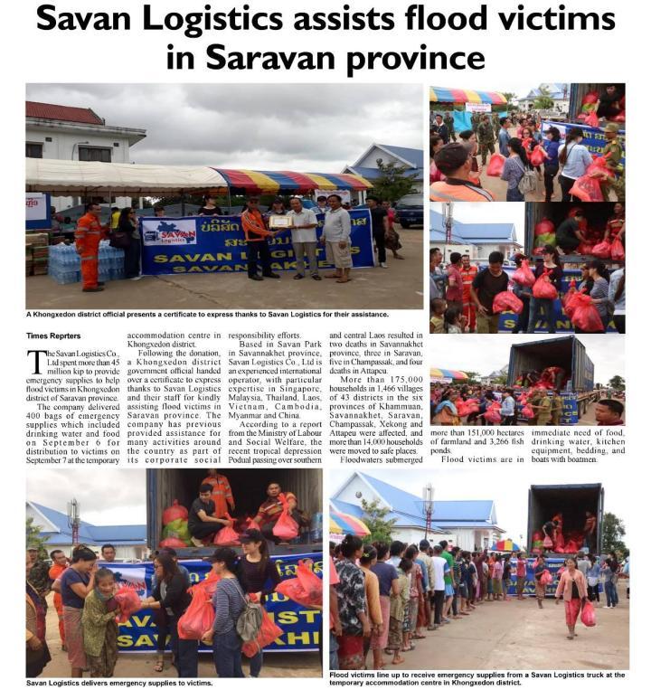Savan Logistics Assisted Flood Victims in Saravan Province, Laos