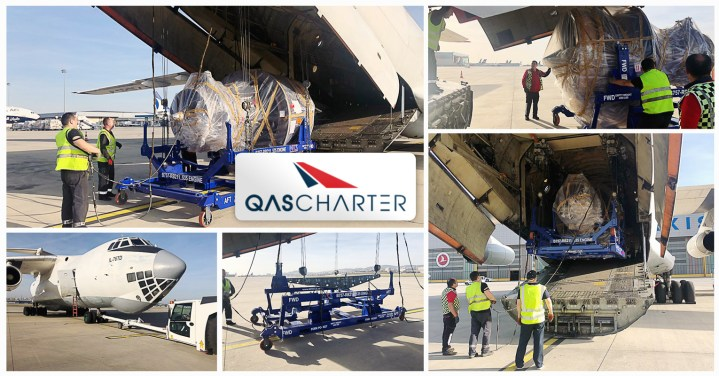 QAS Chartered an IL-76 for the Transport of AOG AC Engine and Empty Stand to Russia