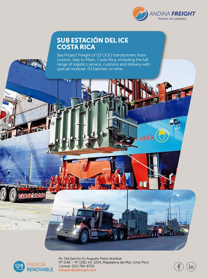 Andina Freight Handled 3 OOG Tranformers from Italy to Costa Rica