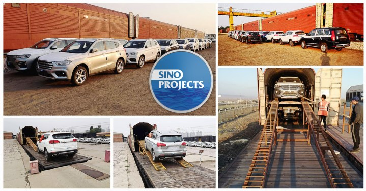 Sino Projects Transported Cars by Rail Car Wagons from China to Central Asia (CIS) Countries