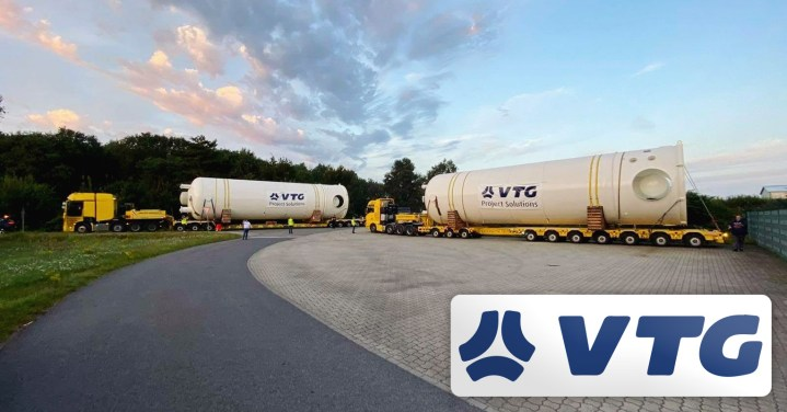 VTG Project Logistics Moved 2 x 70 mt Absorber Vessels (dia 550cm) from Germany to Lipezk, Russia