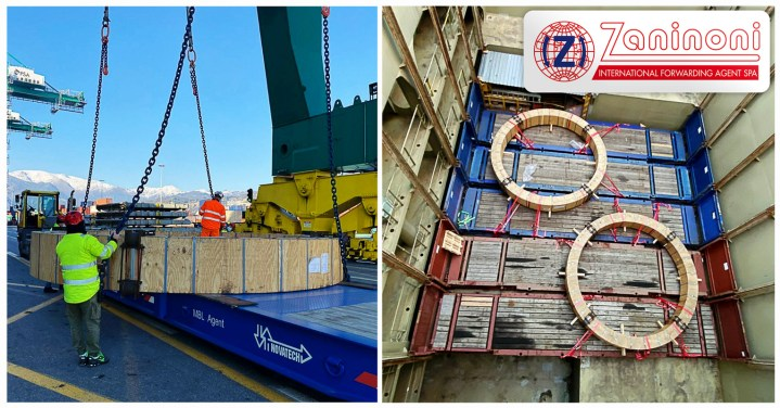 Zaninoni Handled Giant, 6m Diameter Wedding Rings Weighing 42mt each for Brazil