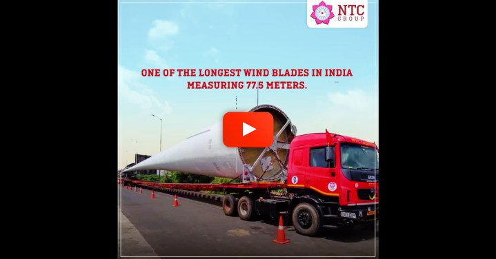Video - NTC Logistics Carried One of the Longest Wind Turbine Blades in India 600 km from Door Chennai to VOC Port in Tuticorin