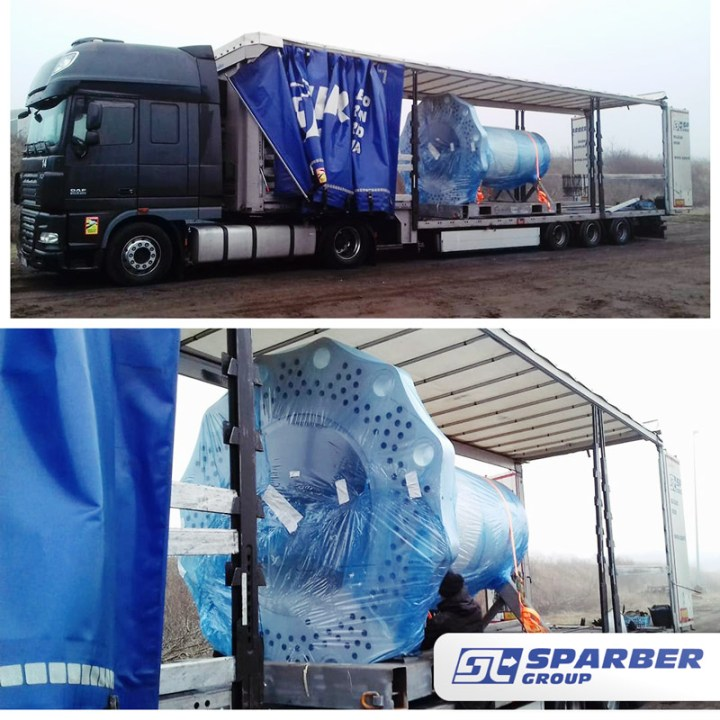 Sparber Transported a Wind Energy Piece from Denmark to Belgium using a Closed Extendable Semi