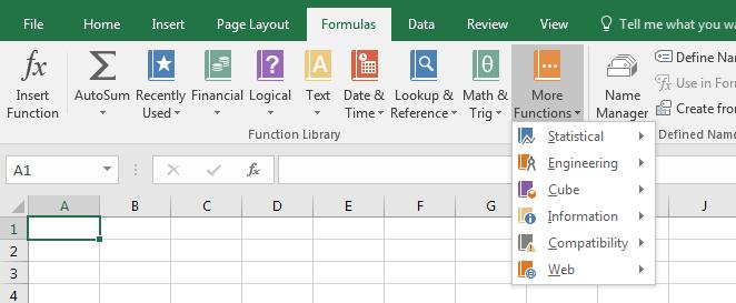kategori fungsi excel pada ribbon Excel
