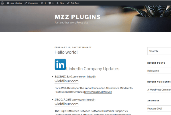 2017 03 03 linkedin company updates with hack in place