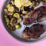 Würzig, frische Lammkoteletts mit Ofen Rosenkohl