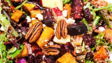 roasted sweet potato and beetroot salad