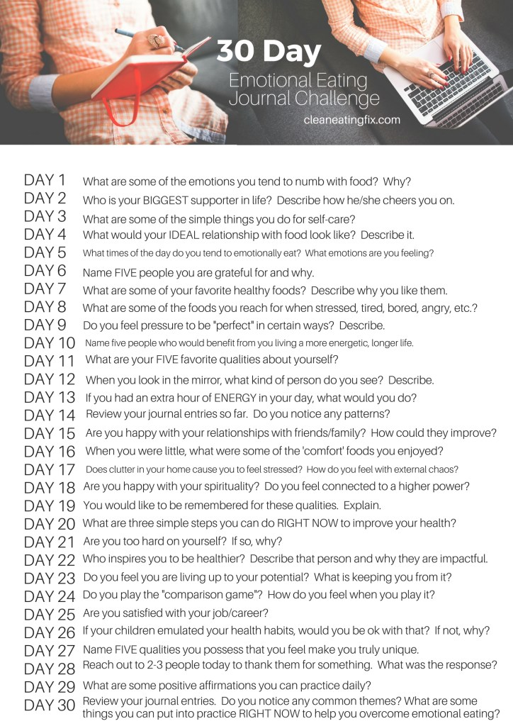 30 Day Emotional Eating Journal Challenge