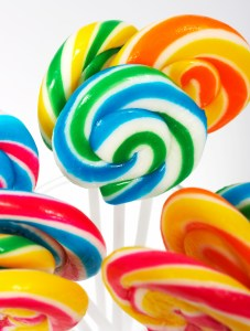 Multicolored Twisted Candy On Sticks For A Treat