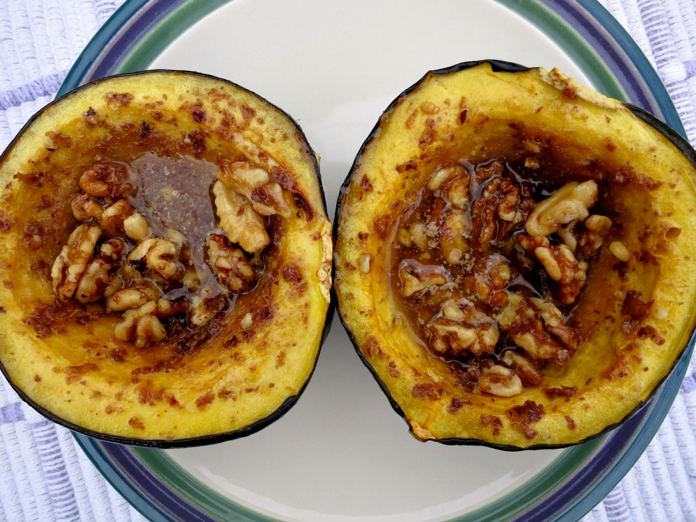 Acorn Squash with Butter, Brown Sugar and Walnuts
