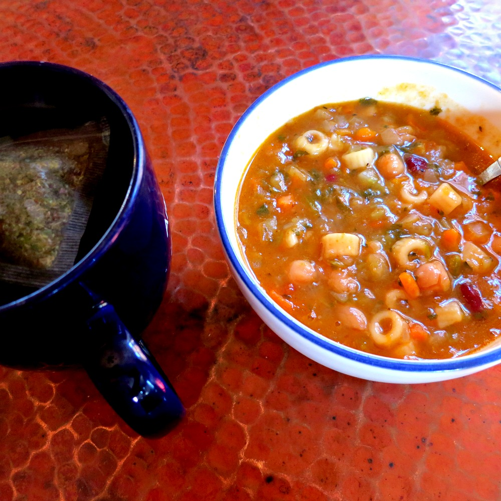 Pasta and Three Bean Soup and Tea