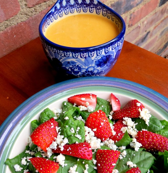 Strawberry Spinach Salad and Sweet Potato Soup
