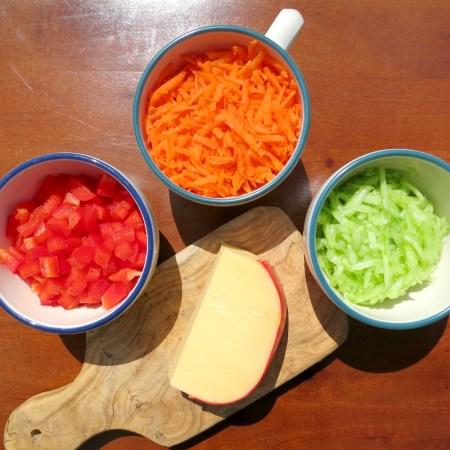 Veggie Packed Grilled Cheese Fixings