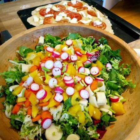 Salad and Homemade Pizza